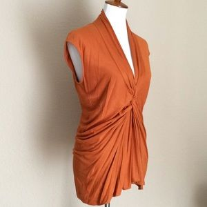 Yves Saint Laurent V neck Ruched Sleeveless Top